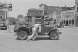 Man Pushing Broken Down Car 1930S Photographic Print