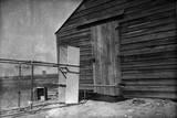 Close-Up View of Rudders and Elevator of Glider in Front of Camp Building at Kitty Hawk Photographic Print