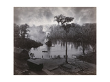 Steamboat Approaching Dock, View from the Morgan House Giclee Print