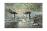 A Steamboat Race on the Mississippi Giclee Print