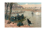 Laying the Pontons at Fredericksburg Giclee Print