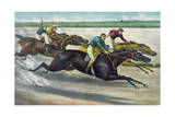 Horse Racing, a Desperate Finish Giclee Print