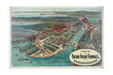 View of Boston Freight Terminals, the New York, New Haven and Hartford Railroad Giclee Print