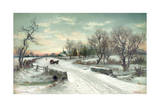 Winter Scene on Christmas Morning Giclee Print