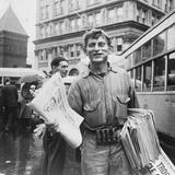Lancaster, Pennsylvania, Newsman at Center Square on a Rainy Market Day Photographic Print