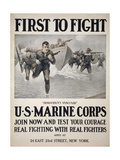 First to Fight - Democracy's Vanguard Us Marine Corps Giclee Print