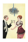 Champagne and Mistletoe Giclee Print