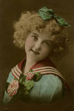 Little Girl in Sailor Suit, with Flowers Photographic Print