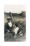 Woman with a Dog in a Field Photographic Print