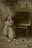Two Little Girls on an Easter Postcard Photographic Print