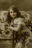 Young Girl with Purple Flowers and Sash Photographic Print