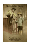 Two Boys at a Garden Gate on a Birthday Postcard Giclee Print