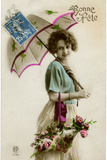 Young Woman with a Parasol and a Basket of Flowers Photographic Print