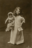 Girl and Doll Off to Bed Photographic Print