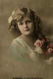 Happy Childhood -- Girl with Pink Roses Photographic Print