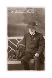 Studio Portrait, Man with Pekingese Dog Photographic Print
