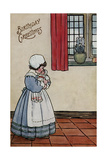 Little Girl with Doll on a Birthday Postcard Giclee Print