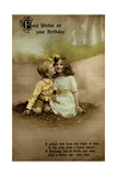 Little Girl and Boy on Birthday Postcard Giclee Print