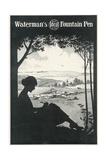 Silhouette, Woman Writes Giclee Print