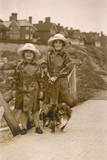 Two Girls and a Dog, Westgate on Sea, Kent Photographic Print