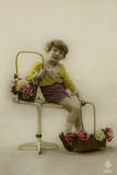 Little Girl on a Postcard with Baskets of Flowers Photographic Print