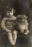Studio Portrait, Boy with Pekingese Dog Photographic Print