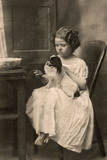 Little Girl with King Charles Spaniel Photographic Print