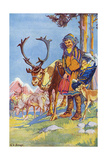 Sami People and Reindeer Giclee Print