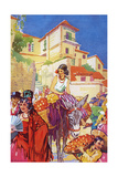 Colourful Street Life in Granada, Spain Giclee Print