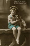 Little Boy with Spaniel on a Birthday Postcard Photographic Print