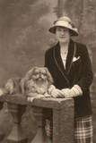 Studio Portrait, Woman with Pekingese Dog Photographic Print