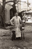Young Man with a Dog and a Donkey, Gibraltar Photographic Print