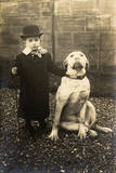 Little Boy with Large Bulldog in a Garden, France Photographic Print