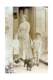 Woman with Her Two Children and a Scottish Terrier Photographic Print