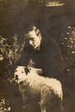 Man with a Terrier in a Garden Reproduction photographique