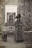 Woman with Spaniel Dog Outside a House Photographic Print