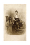Woman with Two Greyhounds Papier Photo