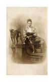 Woman with Two Greyhounds Impressão fotográfica