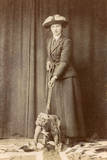 Woman with Bulldog on British Flag Photographic Print