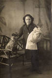 Studio Portrait, Girl with Dog and Doll Photographic Print