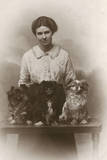 Woman with Pekingese Dogs Photographic Print