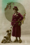 Young Woman in Purple Costume, with Dog Photographic Print