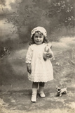 Studio Portrait, Little Girl with Toy Bulldog Photographic Print