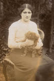 Young Woman with Pekingese Dog in a Garden Photographic Print