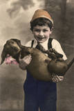 Studio Portrait, Little Boy with Dachshund Photographic Print
