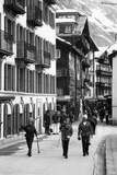 Skiers in Zermatt Town Photographic Print