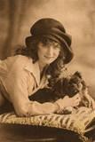 Studio Portrait, Young Woman with Pekingese Dog Papier Photo