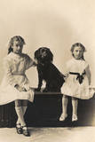 Studio Portrait, Two Girls with Spaniel Photographic Print