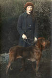 Young Woman with a Dog in a Garden Photographic Print