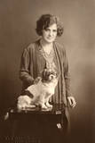 Woman with Pekingese Photographic Print
